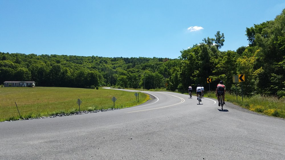 Berne riders coasting into the sunshine on Switzkill Road from the shady end of Gifford Hollow Road