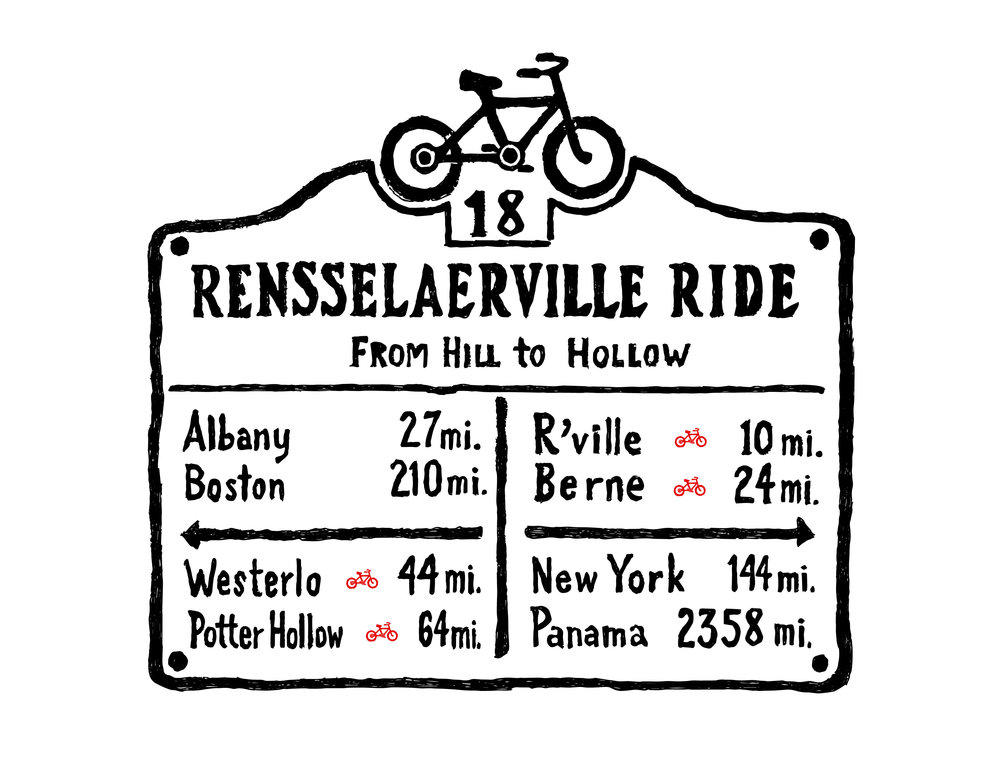 Rensselaerville's oldest 'road sign,' an historic distance marker, served as inspiration for our logo.