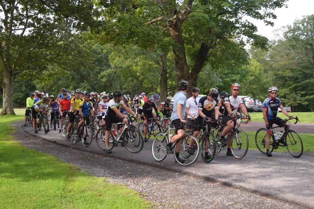 Rensselaerville Ride 2017 160riders at starting line.JPG