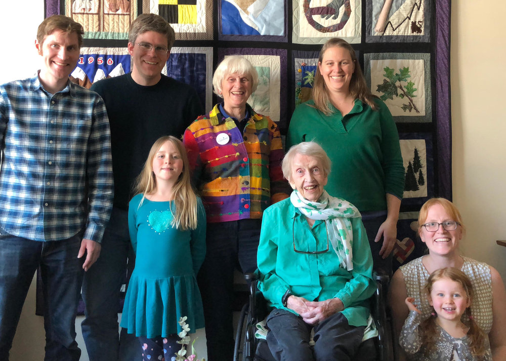 Left to Right: Son John Noss, son-in-law Ryan McCourt, Kate McCourt (age 7), me, mother Patricia Lightbody (age 99), daughter Amy McCourt, daughter Charlotte Noss, granddaughter Sadie Noss Leheny (age 3).