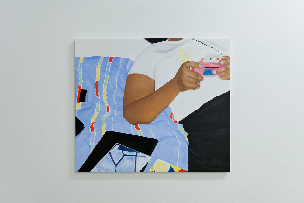 Girl and gameboy.2018.  Oil on canvas 75x55cm.