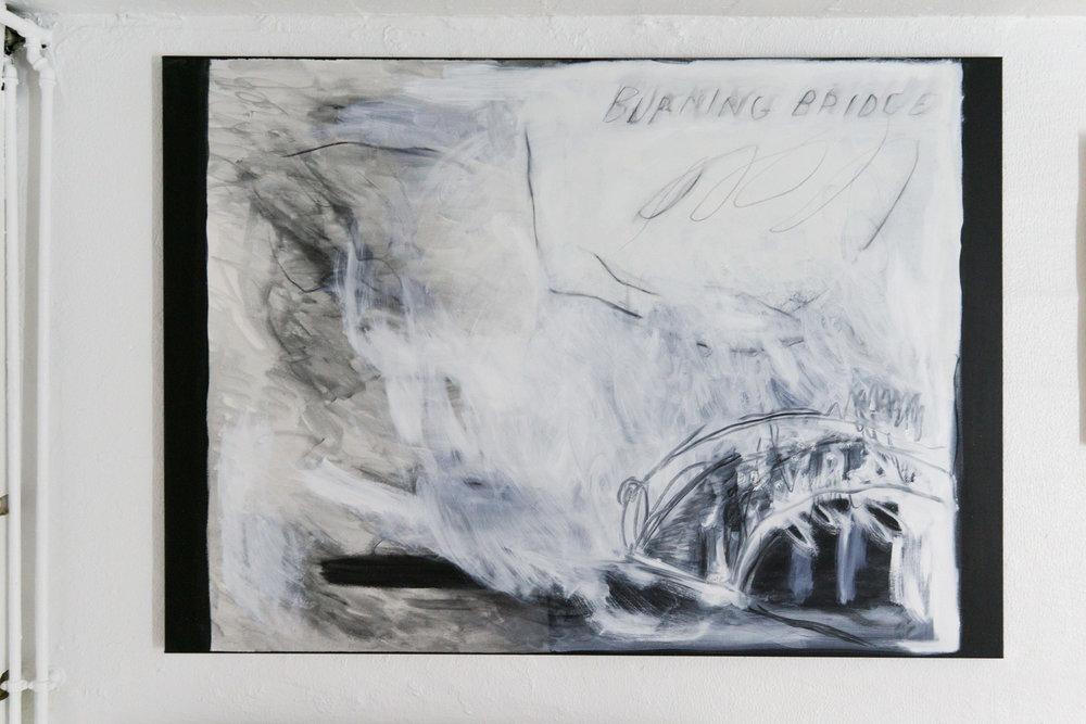 Burning bridge, film still. 2017.  Oil, acrylic and charcoal on canvas.  140x100cm.