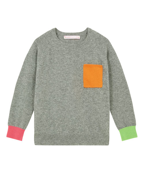 d6a2fb4db13 Kids Grey   Neon Cashmere Jumper — Gussy and Lou