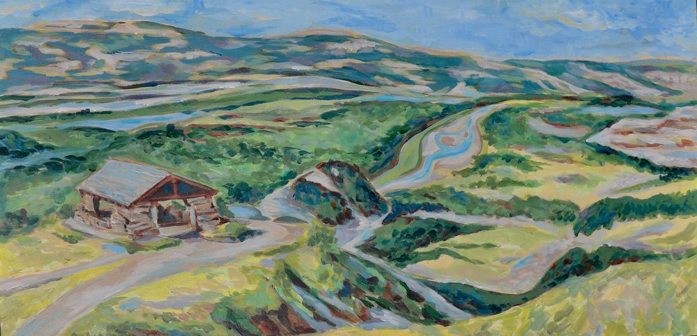 Riverbend Overlook, Theodore Roosevelt National Park North Unit - acrylic on board