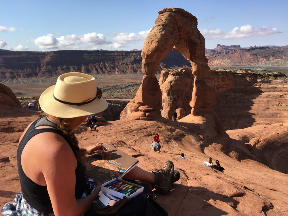 "You are invited to travel along on this journey with me via daily travel log, video commentary, up to the minute art gallery and social media feeds – experience the parks in a new and exciting way…through ""an artist's eyes"". - Delicate Arch - Arches National Park, Utah"