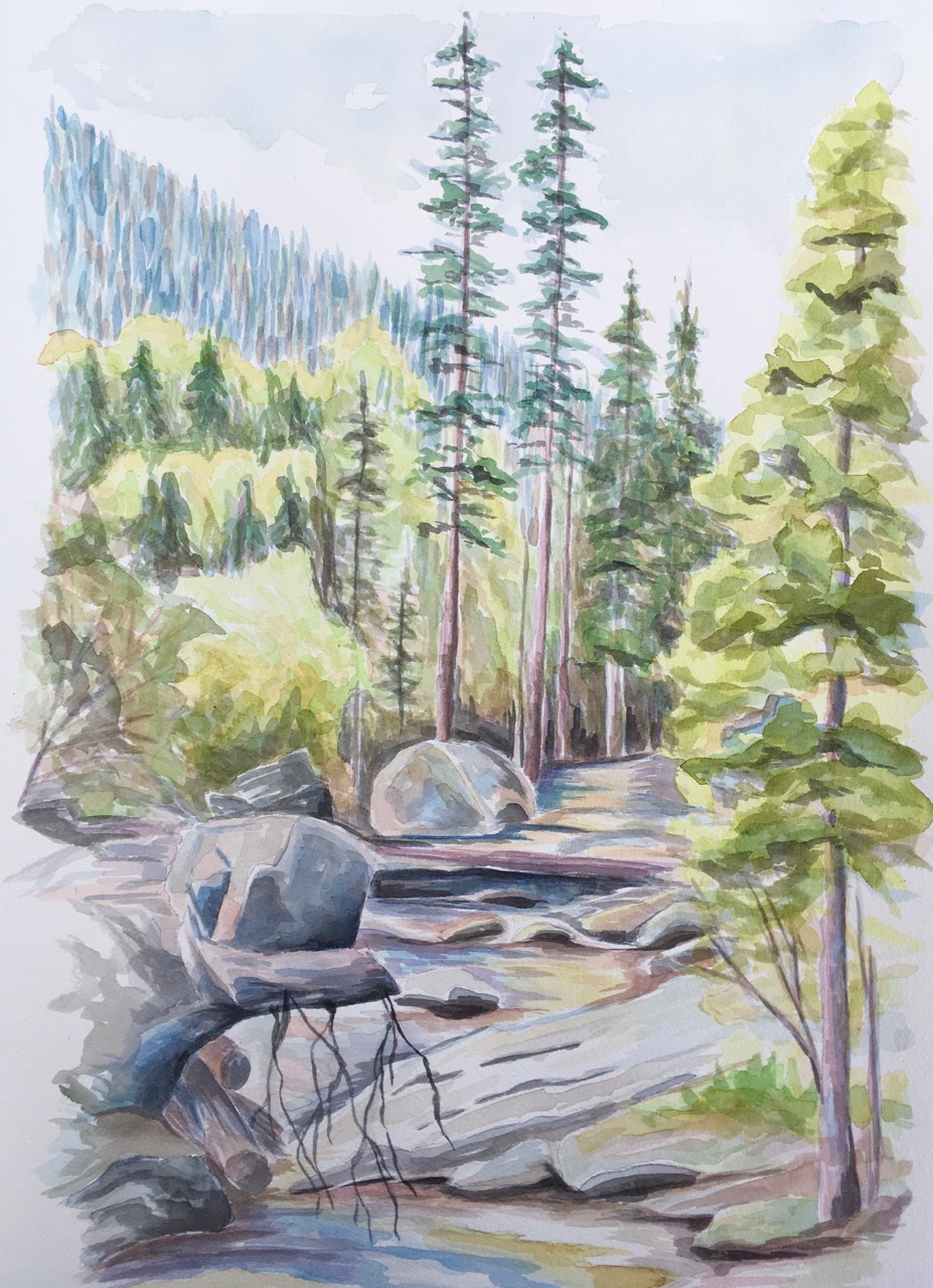 Upper Copeland Falls, Rocky Mountain National Park - watercolor