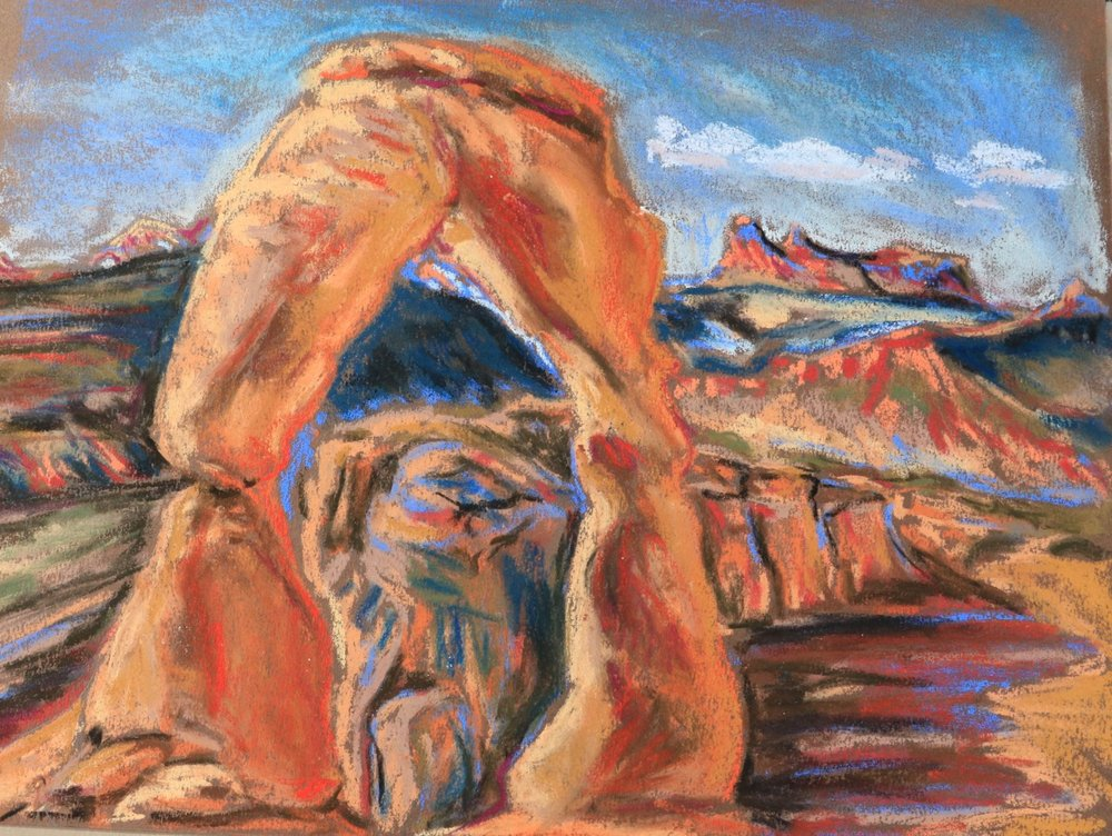 First Glimpse of Delicate Arch, Arches National Park - pastel