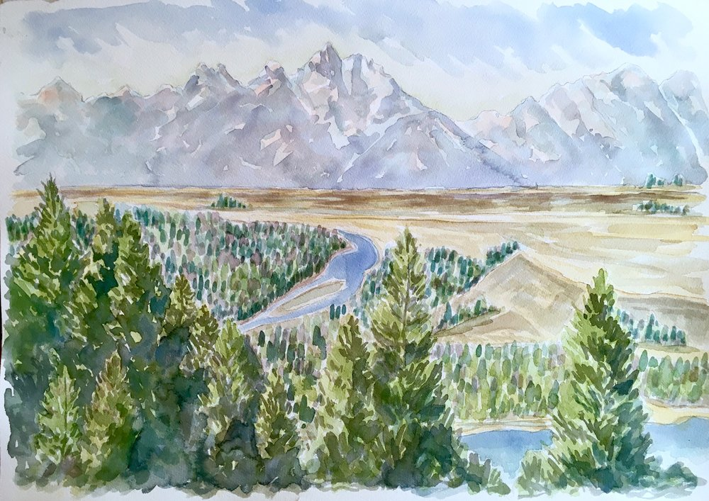 Ansel's View - Snake River Overlook, Grand Teton National Park - watercolor