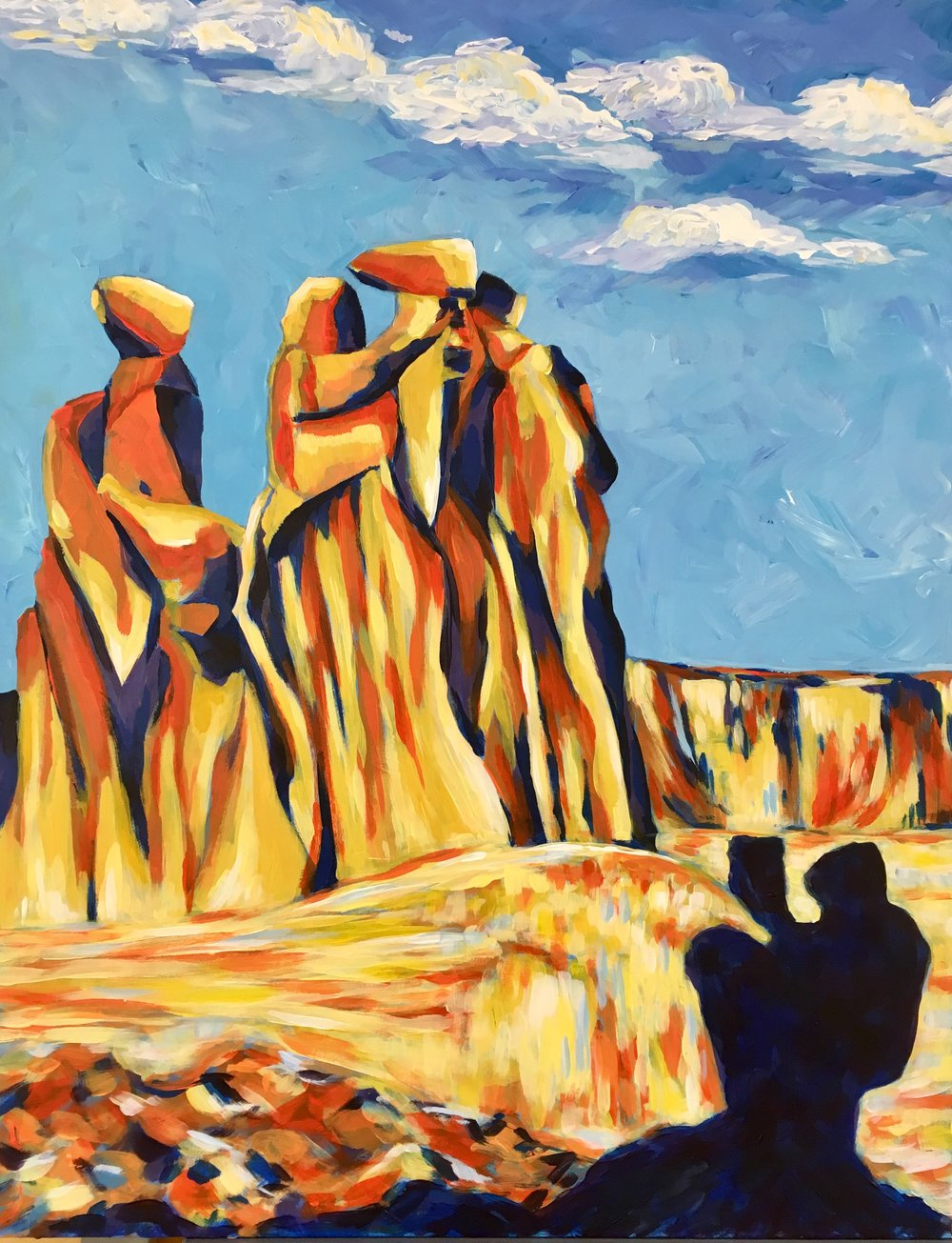 Offering to the Three Sisters, Arches National Park - acrylic on board