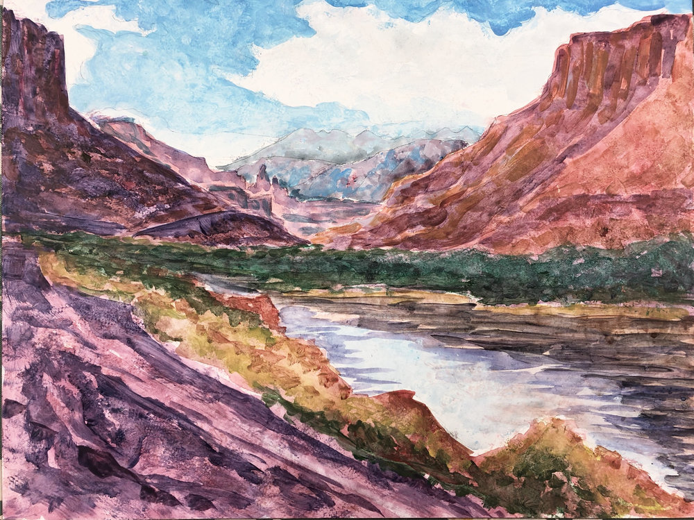 View from my Campsite: Colorado River, Moab, Utah - watercolor and acrylic on board