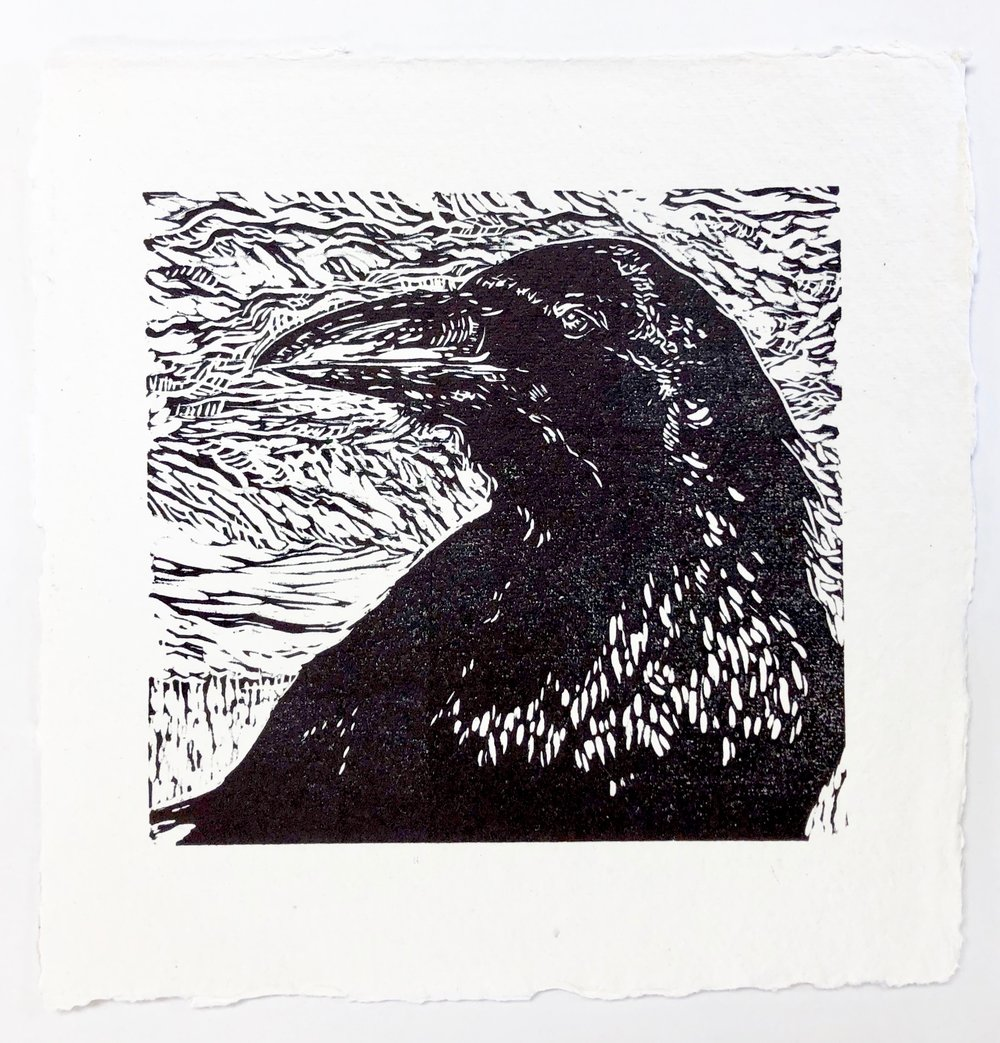 Portrait of Raven - Zion National Park - woodcut print