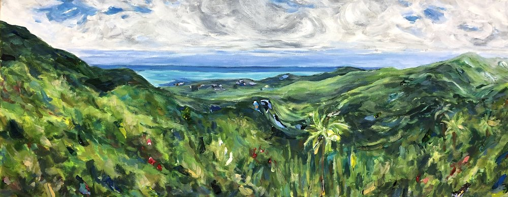 View from Yokahu Tower, El Yunque National Rain Forest, Puerto Rico - acrylic on canvas