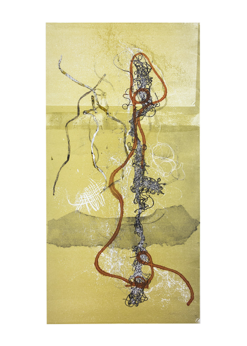 """Scroll 2, collagraph, image: 19"""" x 9-3/4"""""""