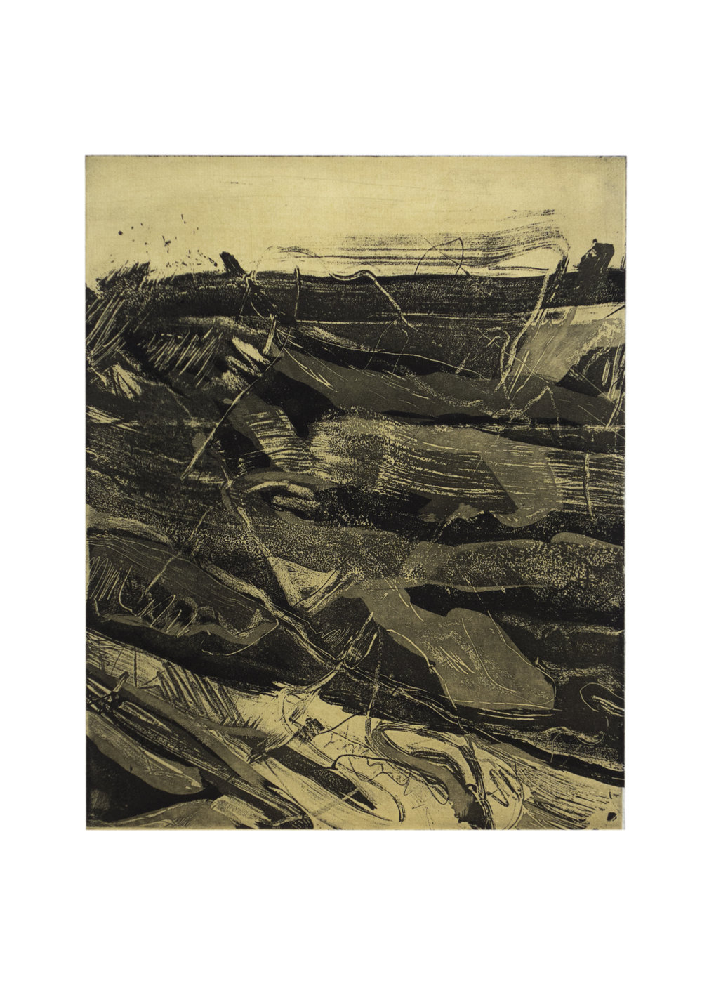 """Under the Sea 3, copper plate etching, image: 9"""" x 7"""""""