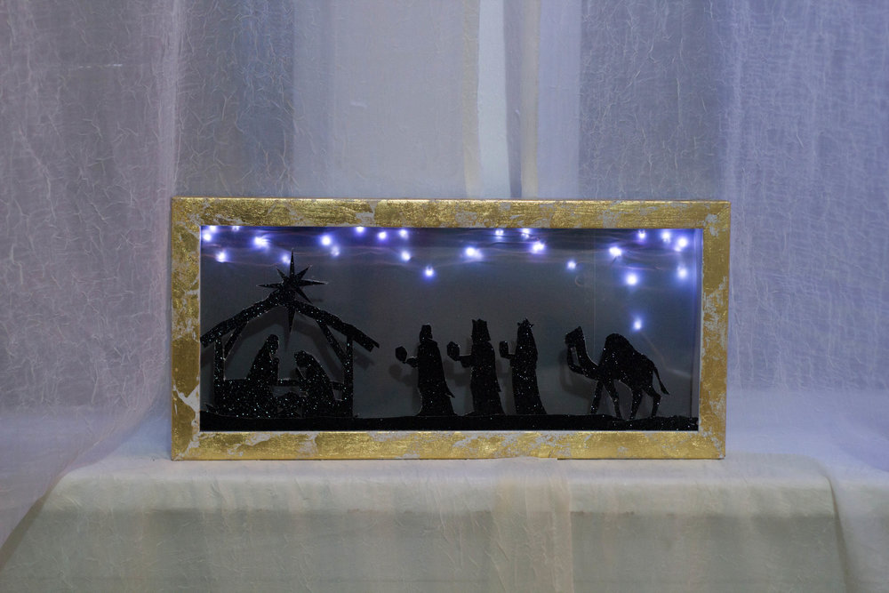 Gold Leaf Shadowbox Nativity (with FREE printable!) (COMING SOON)
