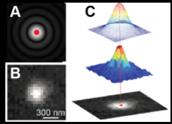 Figure 1. (A) Simulation of a diffraction limited image of single emitter located at the red dot. (B) Real image of a single molecule (C) Computationally determining the location of an emitter with superresolution precision by Gaussian fitting [5].