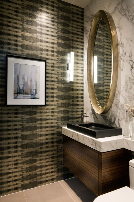 The Powder Room- Sophisticated, clean-lined materials combine to create a modern, refreshingly simple, yet decadently luxurious atmosphere.