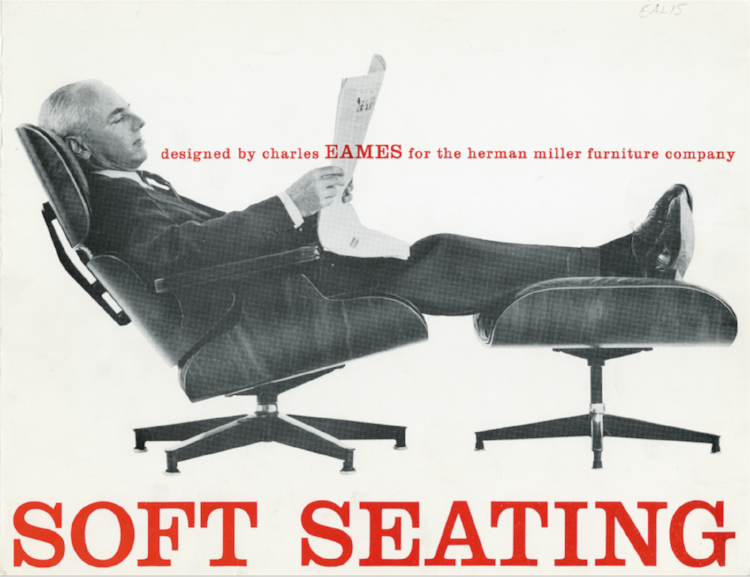 """A 1959 advertisement for the Lounge set emphasizes its comfort. Another ad from the era reads """"A good chair, nowadays, is hard to find,"""" and suggests that it's """"the only modern chair designed to relax you in the tradition of the good old club chair."""" Charles took on the project because he was """"fed up with the complaints that modern isn't comfortable."""""""