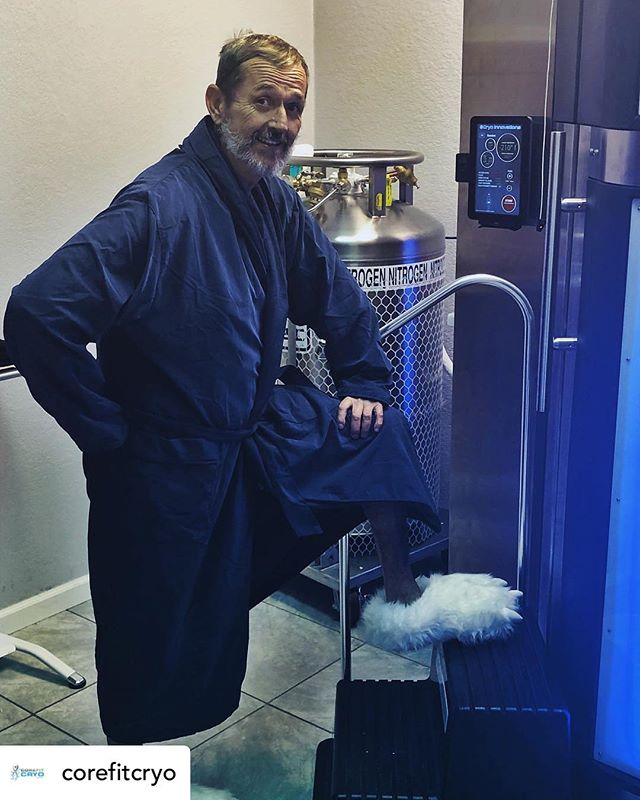 """Reposted • @corefitcryo Ross is ready for his whole body cryotherapy !!! """"....... ...... ........ .... ... .. ...... #cryo #corefitcryo #cryotherapy #coldtherapy #cooltherapy #recovery #fitness #healthy #wellness #health #gym #wholebodycryotherapy #fit  #inflammation #postworkout #preworkout #healing #therapy #rejuvenate #fitlife #musclerecovery #naples #naplesflorida #bonitasprings #bonitaspringsfl #estero #esterofl #fortmyers #fortmyersfl #swfl"""