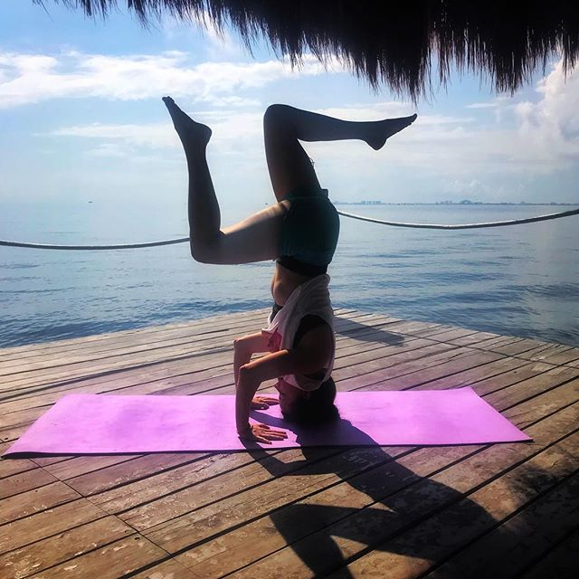 You haven't done yoga until you've done it  in a tiki hut with four sides of ocean surrounding you. 😍 #tbt to the second day of our Mexican vacay (and the first morning as an engaged couple), when we started the day with a private sun salutation led by Leonel, a local yogi. It was so captivating to see how his instruction varied from the classes I take back in the States! 🧘🏻♀️