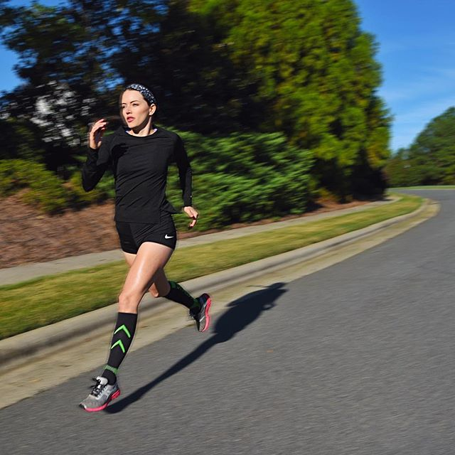 The tighter the socks, the faster the run. 😜 Thanks for my new compression socks @bracoousa!