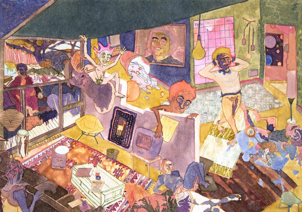"""Romper Room, 2017, Monotype, 18"""" x 24"""""""