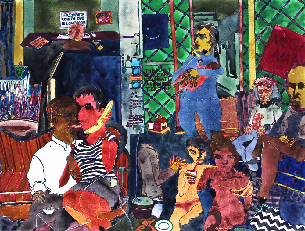 """Fear of Becoming a Nancy Boy  2018  Watercolor Monotype  13"""" x 18"""""""