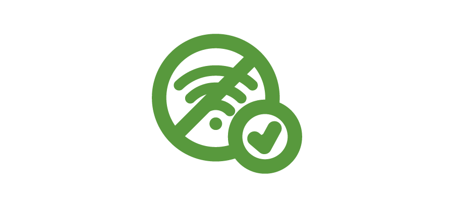 An icon of a crossed out wifi symbol with a circled check mark over it.