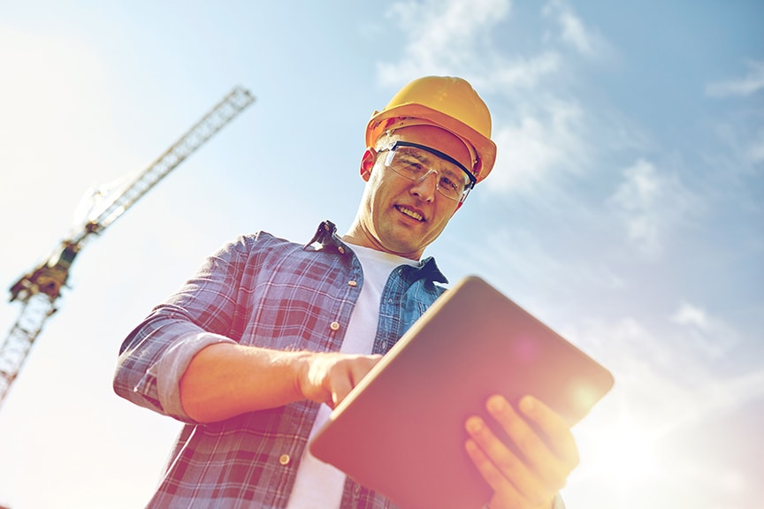 Construction worker using Clipboard