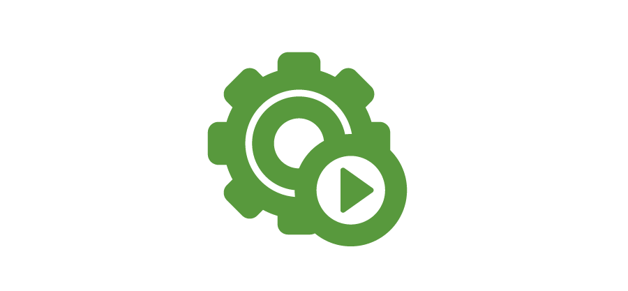 An icon of a gear with a play button over it - an outline of a circle with a triangle in the middle pointing rightward