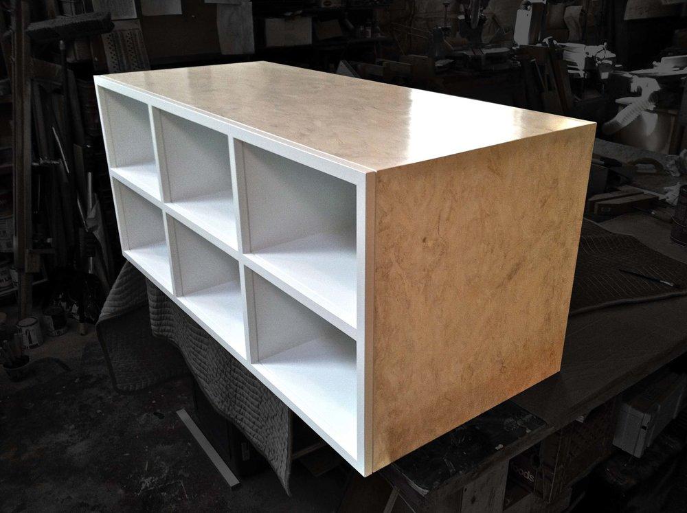 - Storage cabinet fabricated from Purkinje Board.