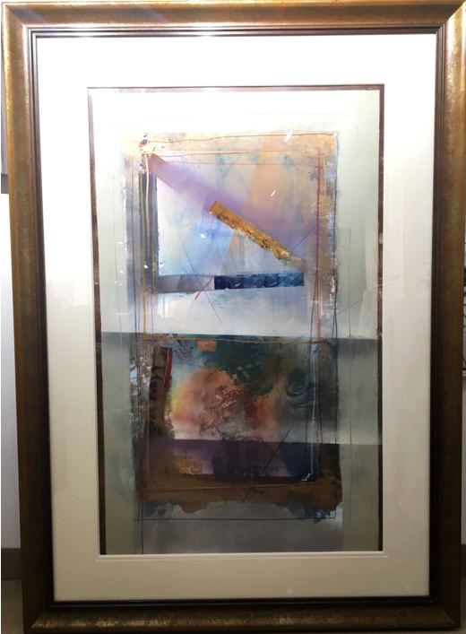 Dennis Frings    Abstract in frame 49 x 69 (framed)    Mixed media on paper Originally $2725     Sale $1365  (frame as is)