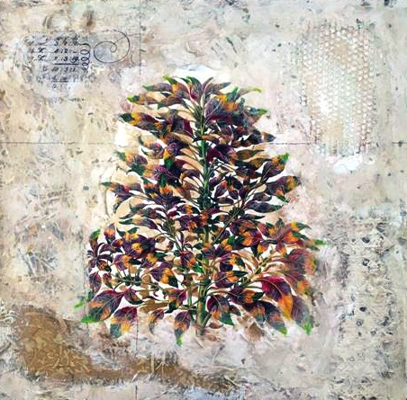 Starlie Sokol-Hohne    Floral 18 x 18    Mixed media on paper Originally $375     Sale $187