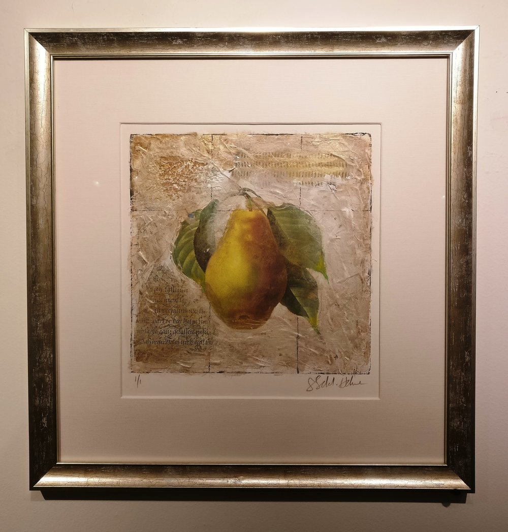 - Sokol Hone    Pear23 x 23    Mixed media on paperOriginally $825    Sale $495