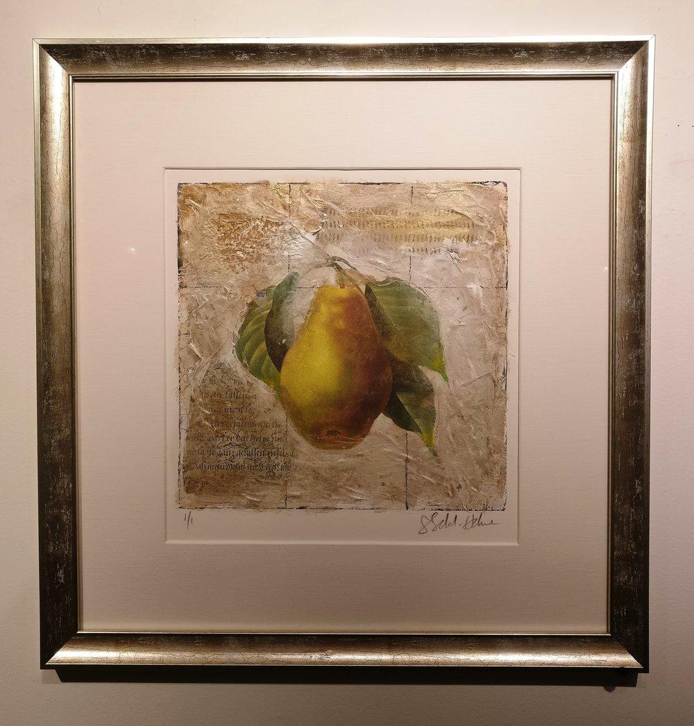 - Sokol Hone  Pear23 x 23  Mixed media on paperOriginally $825  Sale $495