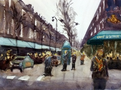 cafe de la paix - Mary Axelson110.5 x 14    Watercolor on paper