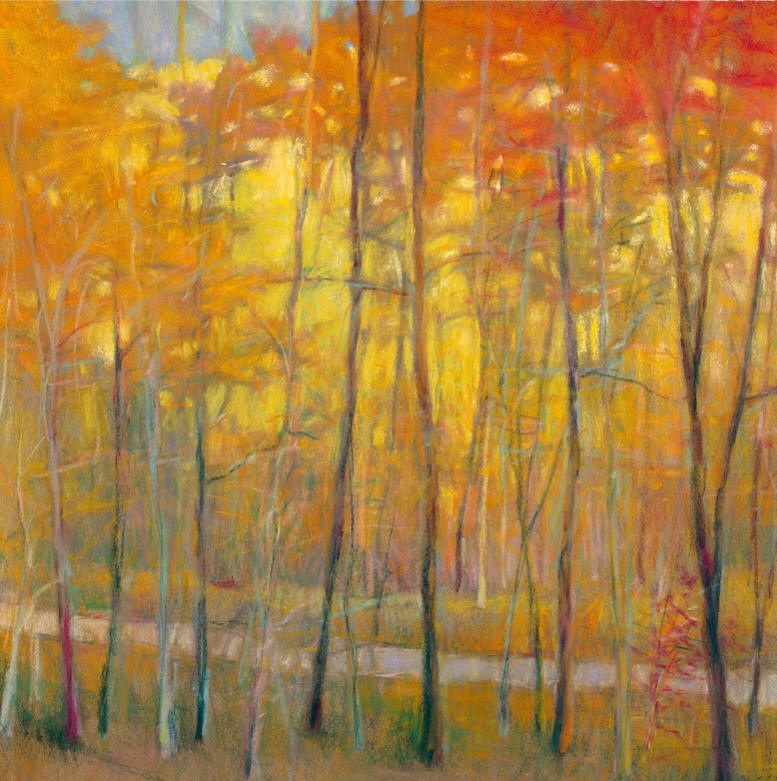 yellows at the creek - Ken ElliotMonotpye on paper