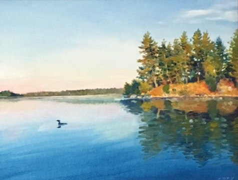 loon waters - Tom Foty14 x 11    Oil on canvas