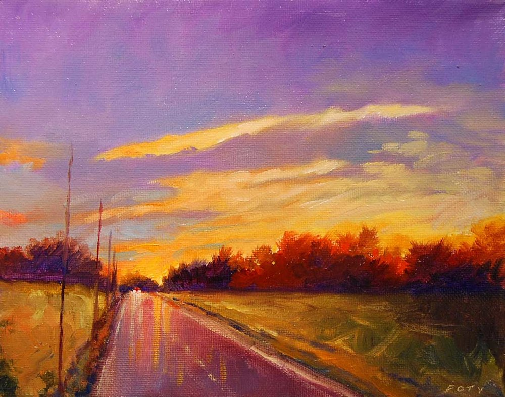 country road - Tom Foty10 x 8    Oil on canvas