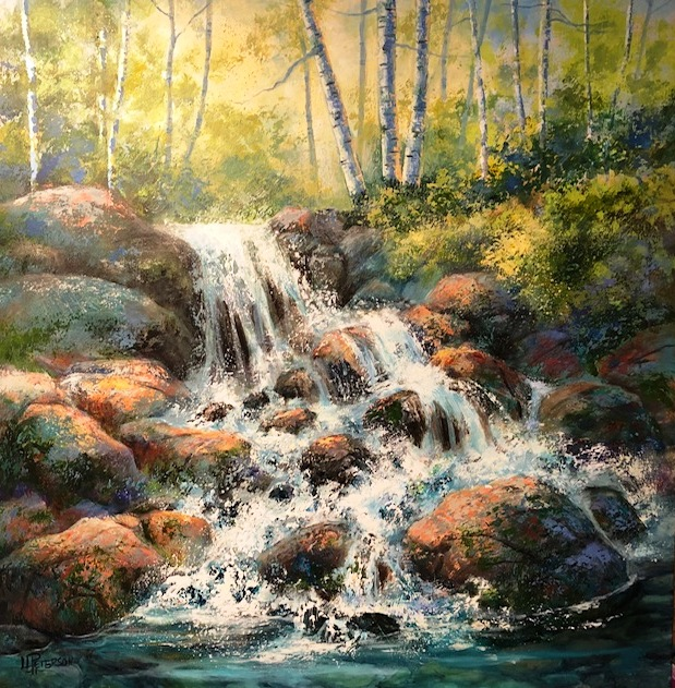 rushing waters - Lynda Peterson48 x 48    Acrylic on canvas