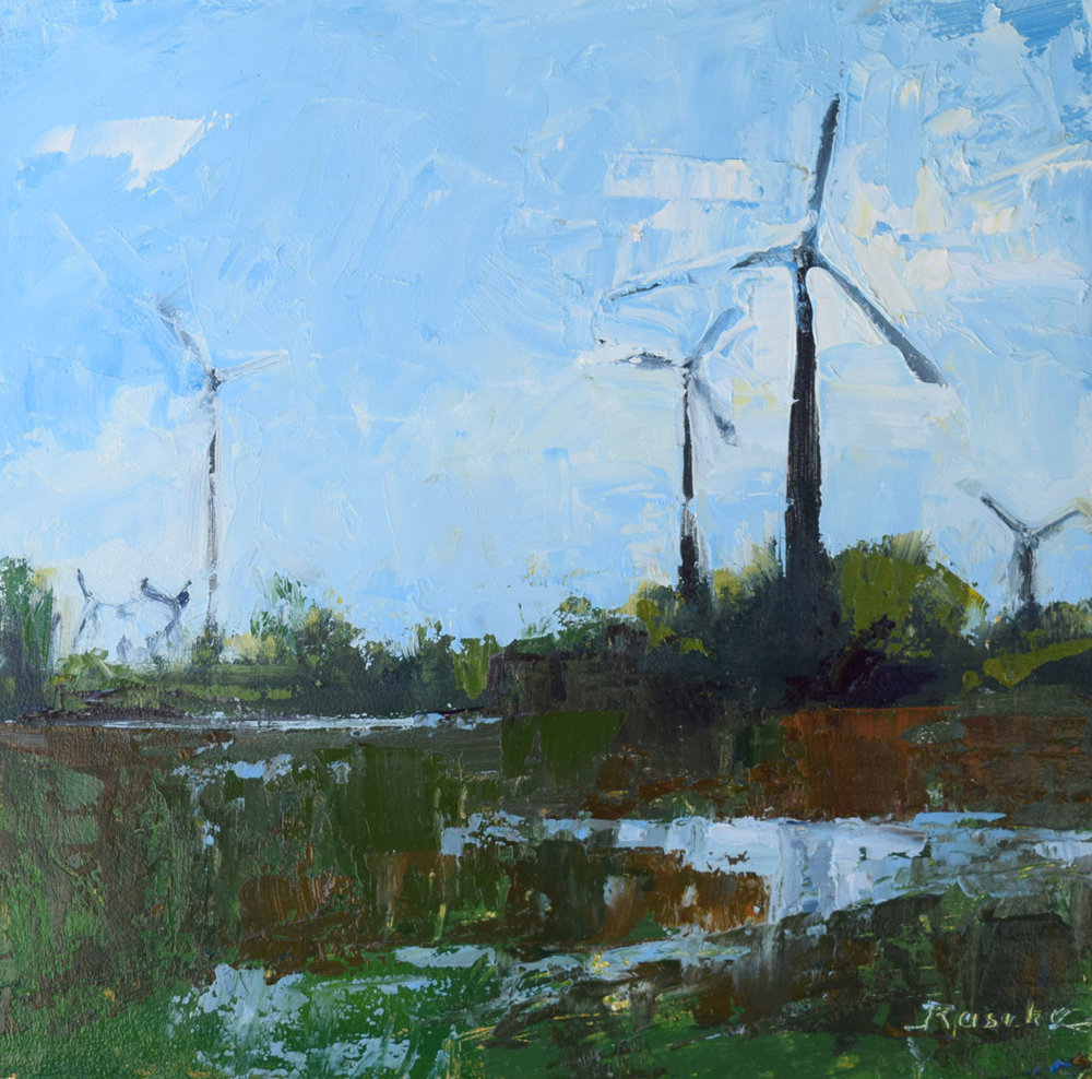 windmill reflection - Jessie Rasche6 x 6    Oil on panel