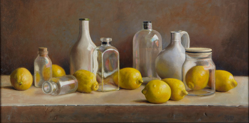 lemons jars and jugs - James Vose15 x 30    Oil on canvasSee more from this artist