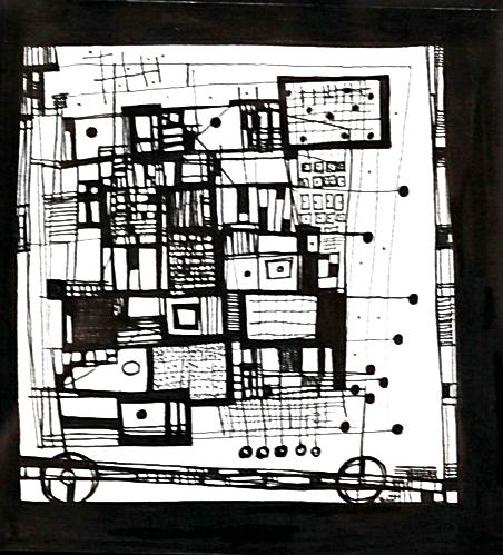 mid century abstractions - Laura Bennett5.5 x 6  Pen on pape