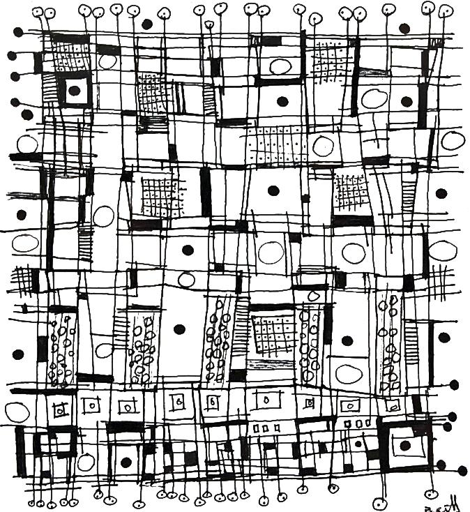 mid century abstractions - Laura Bennett5.5 x 6  Pen on paper