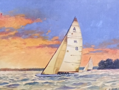 m8 sailboat - Tom Foty14 x 11    Oil on canvas