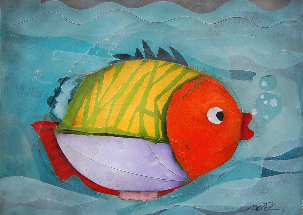round fish - Terri Hallman22 x 30  Mixed media on paper