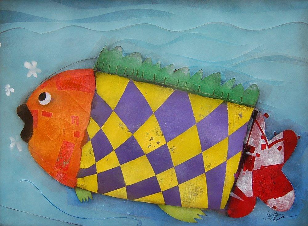 checkered fish - Terri Hallman22 x 30  Mixed media on paper