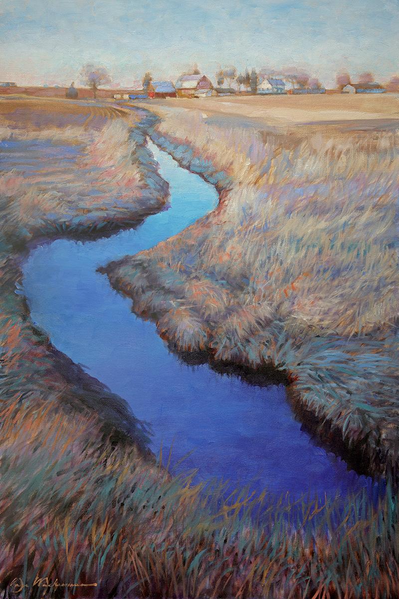 farm stream - Dan Mackerman20 x 30  Oil on canvas