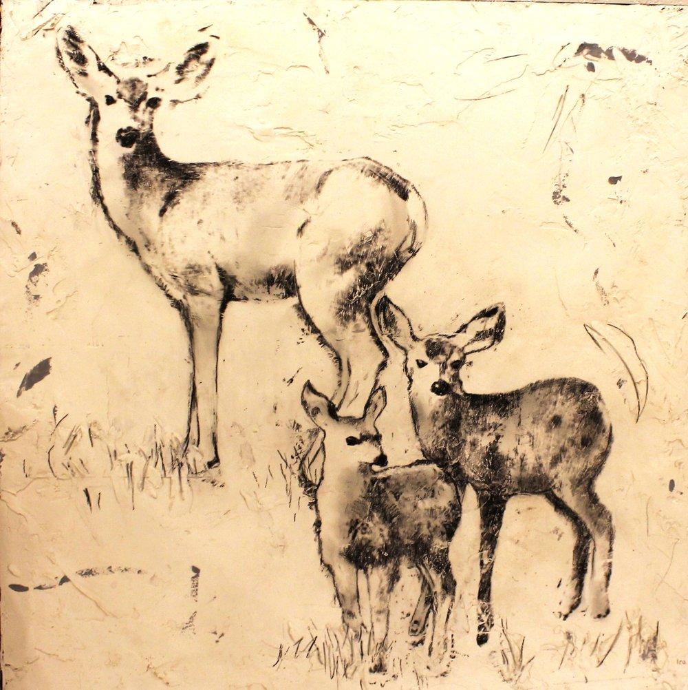 doe and fawns - OKane24 x 24  Encaustic on wood panel