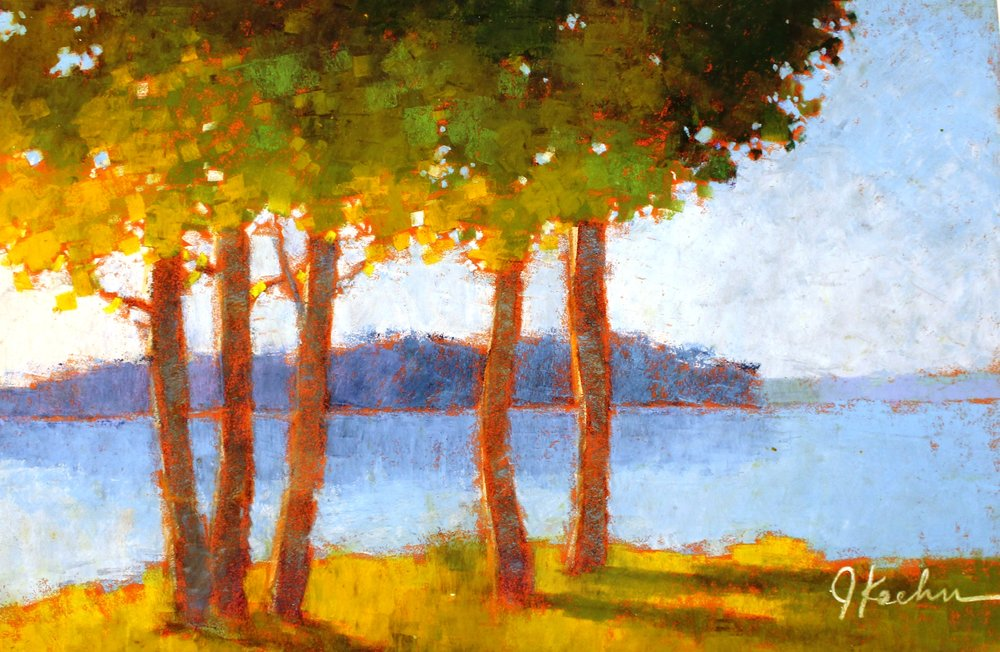 morning on the lake - Jeff Koehn5 x 17    Pastel on paper